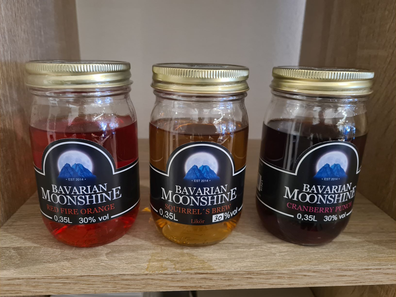 Bavarian Moonshine Red Fire Orange, Squirrel´s Brew & Cranberry Punch